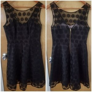 Betsey Johnson polka dot overlay dress V-back
